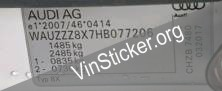 2017 AUDI A1 SE TFSI Replacement Pillar VIN sticker